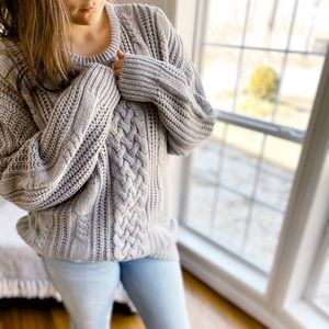 Vintage Cable Knit Oversized Long Sweater Gray